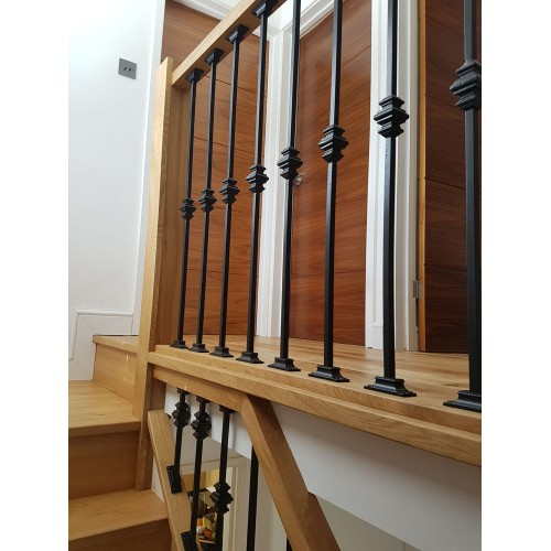 1 X Wrought Iron Metal Collar Baluster Balustrade Stair Spindle 1m Long X  12mm Plain Bars